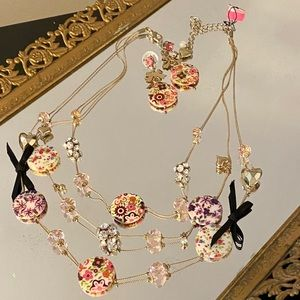 Betsey Johnson Floral Necklace and Earrings Set